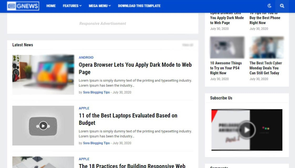 GNews Simple Blogger Templates Free   Blogger Theme Download