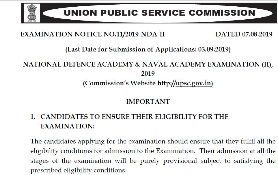 UPSC NDA NA II Exam 2019