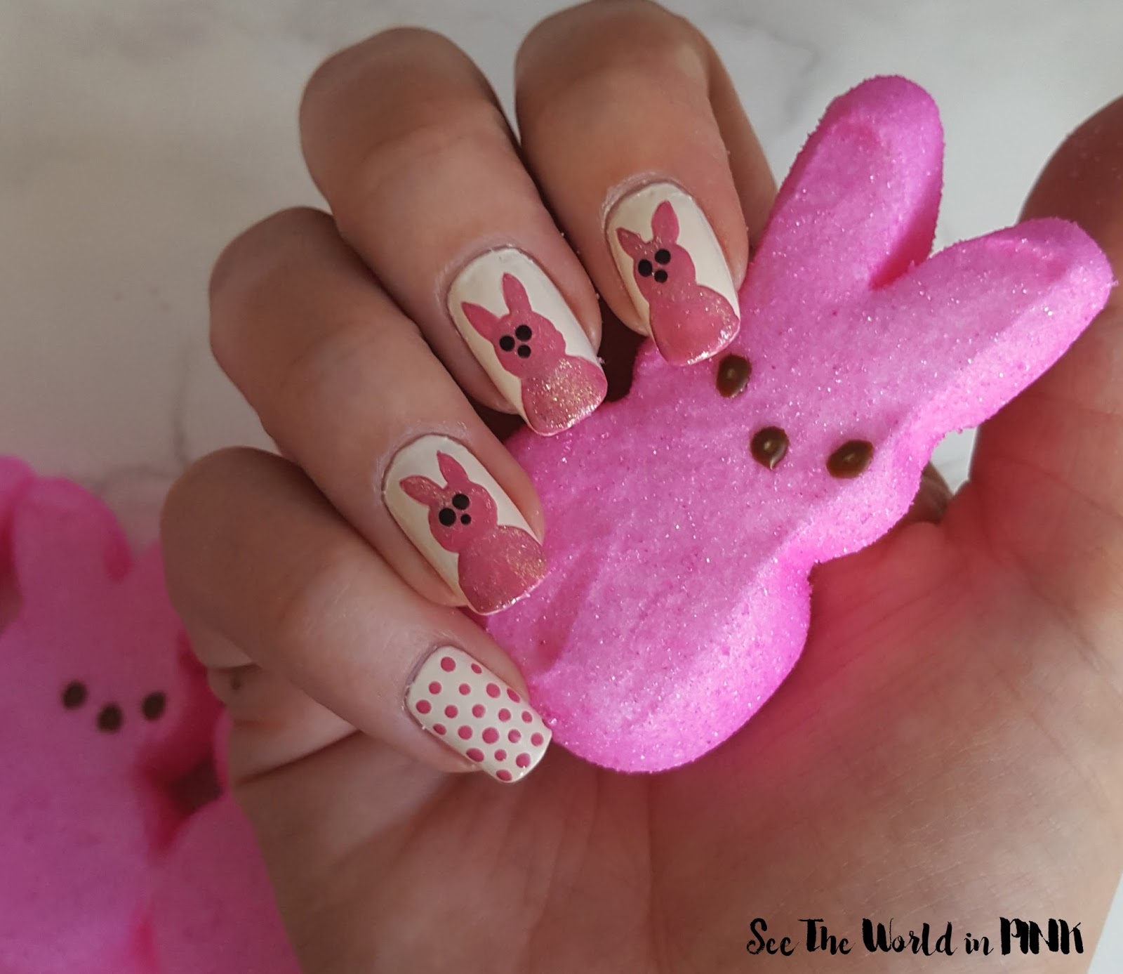 Easter Manicure Monday - Peeps Spring Pink Bunny Nail Art