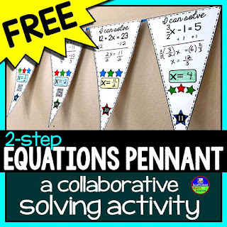 subscribe to Scaffolded Math and Science blog updates - you will be sent this free math pennant activity for solving 2-step equations