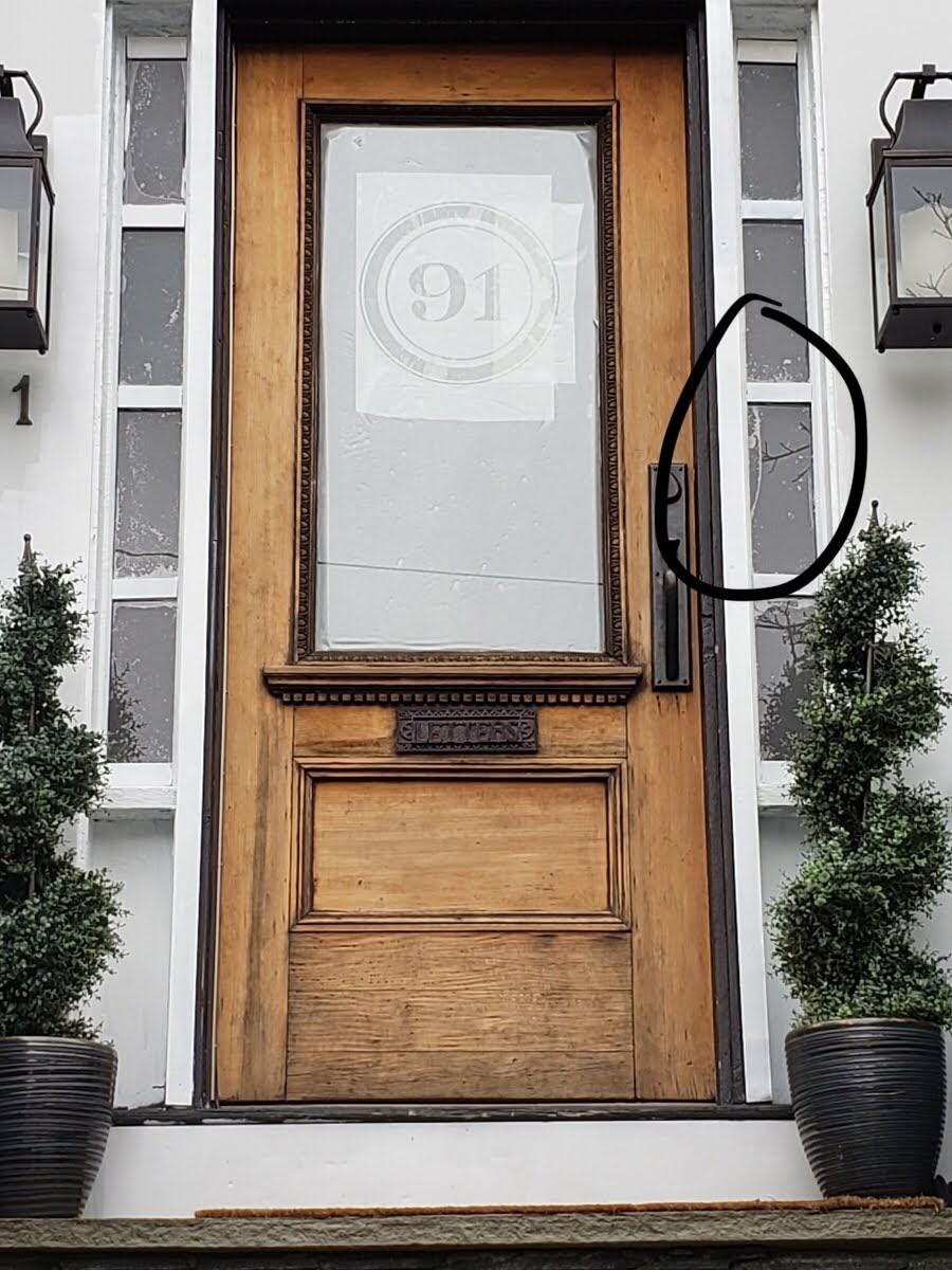 vinyl house number on antique glass door