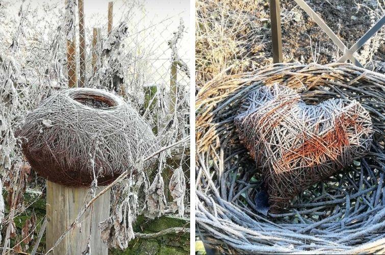Drahtkunst im winterlichen Garten