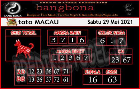 Prediksi Bangbona Toto Macau Sabtu 29 Mei 2021
