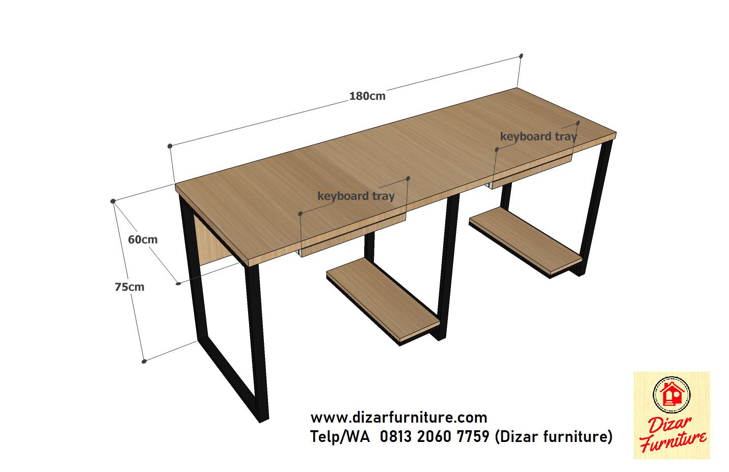 ukuran meja cubicle 2 orang