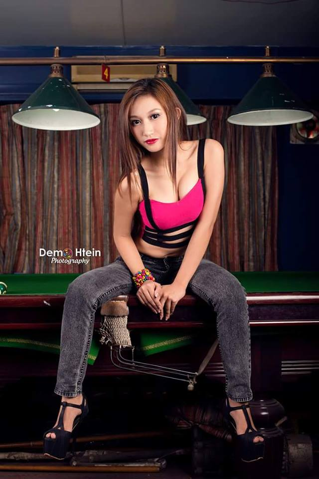 Eaint Lapyae - Snooker Girl Lying On The Table