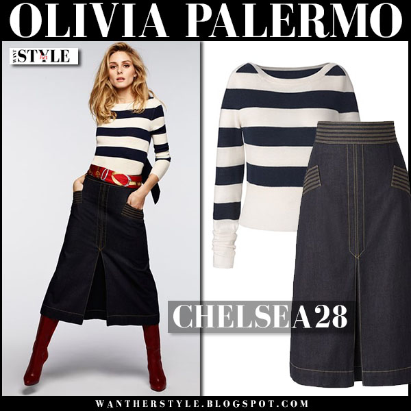 Olivia Palermo in striped navy sweater and dark indigo denim midi skirt chelsea28 summer outfit
