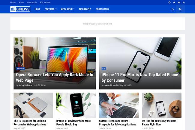 GNews - Template Responsivo para Blogger