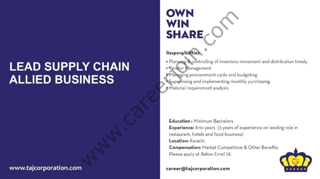 Taj Corporation Jobs Lead Supply Chain Allied Business