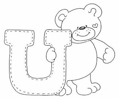 Abecederio De Osito Corazon Para Colorear Letra U 4 Dibujo