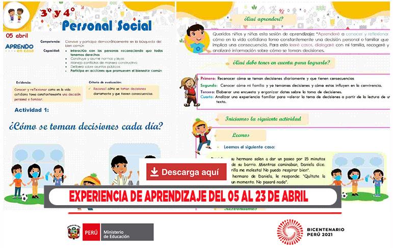 experiencia de aprendizaje abril en word