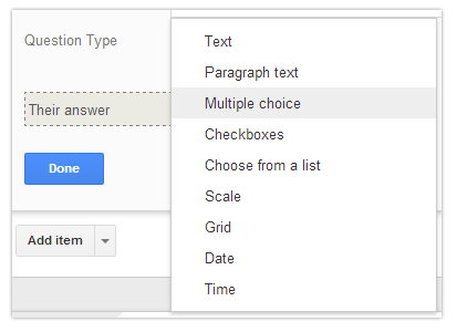 Question Type - Google Drive Form