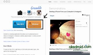 Situs Web Gramblr Aplikasi Instagram untuk PC