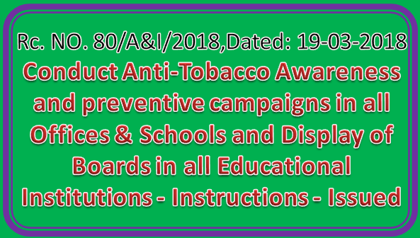 AP Rc No 80 - Conduct Anti-Tobacco Awareness and preventive campaigns in all Offices & Schools and Display of Boards in all Educational Institutions - Instructions - Issued