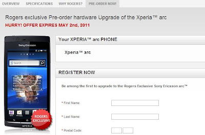 xperia Arc Preorder at rogers