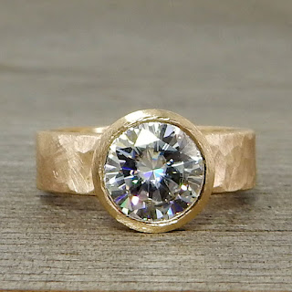 large moissanite gold ring