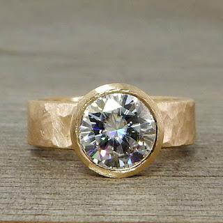 large moissanite gold ring