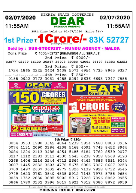 Sikkim State Lotteries 02-07-2020 Lottery Sambad Result 1155 AM