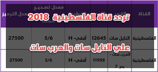 تردد قناة الفلسطينية الجديد 2018