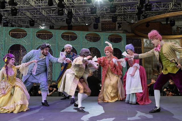 Mozart: Le nozze di Figaro - Hannah Bennett, Alex Jones, Jolyon Loy, Jacob Philips, Siân Dicker, Charlotte Bowden, Guy Withers at dress rehearsal - Opera Holland Park (Photo Ali Wright)