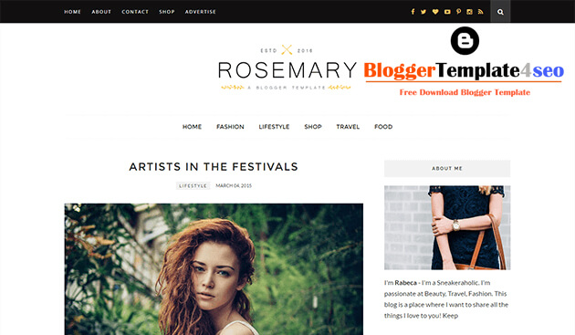 Chia sẻ template blogspot tin tức đẹp Rosemary Responsive Blogger Template