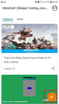 Tampilan menu admin awal aplikasi blogger android