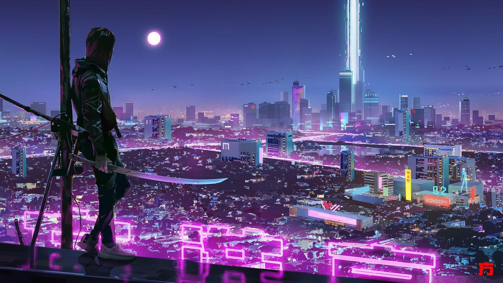 Cyberpunk desktop wallpaper