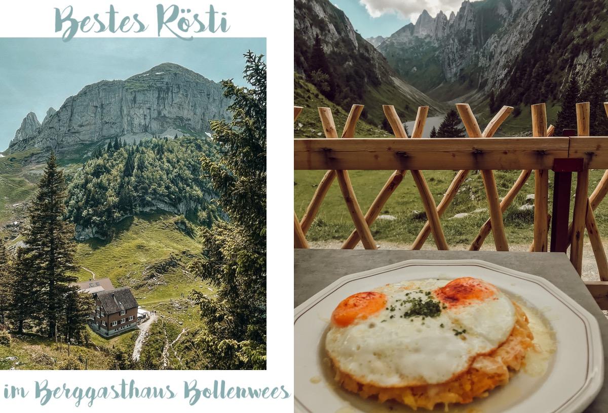 Alpstein Appenzeller Land schönste Wanderung Höhenweg Alp Sigel Bogartenlücke Fälensee Bollenwees Rösti Sämtiser See