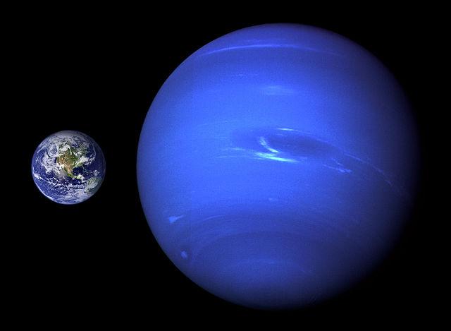 Neptune compared to Earth