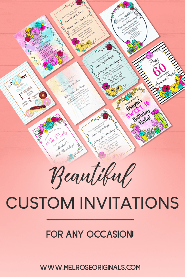 pinnable image of Unique Beautiful fully customizable invitations for any occasion