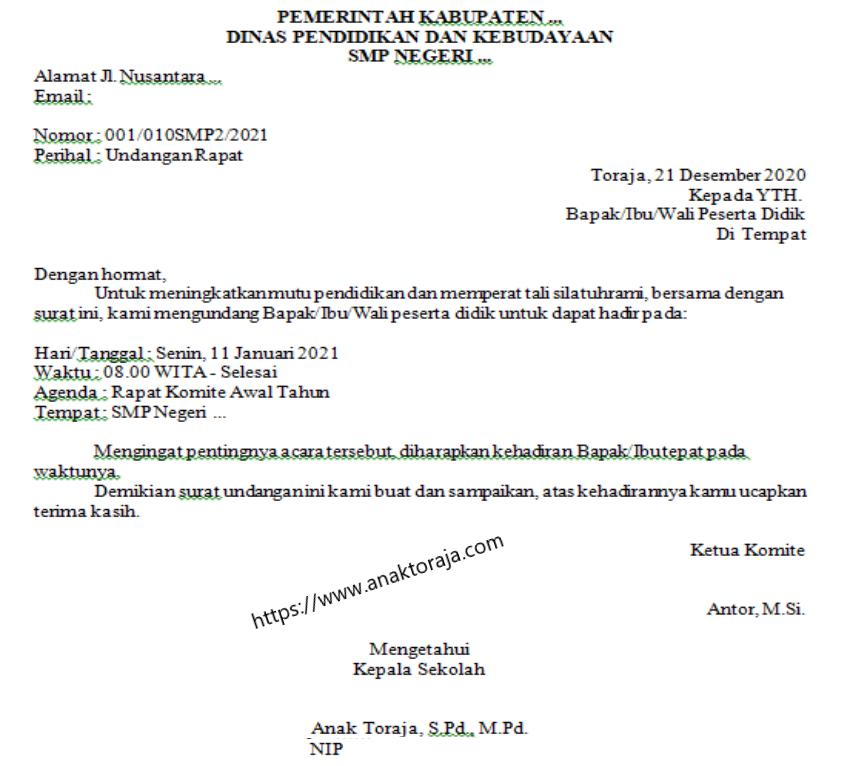 Contoh Surat Dinas Rapat Komite Awal Tahun