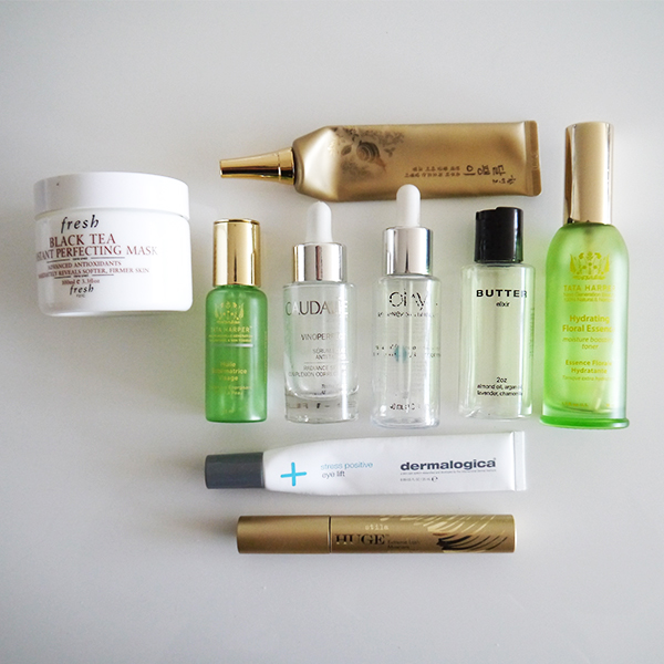 Empty skincare and makeup from Fresh, The Face Shop, Tata Harper, Caudalie, Butter Elixir, Olay, Dermalogica, Stila
