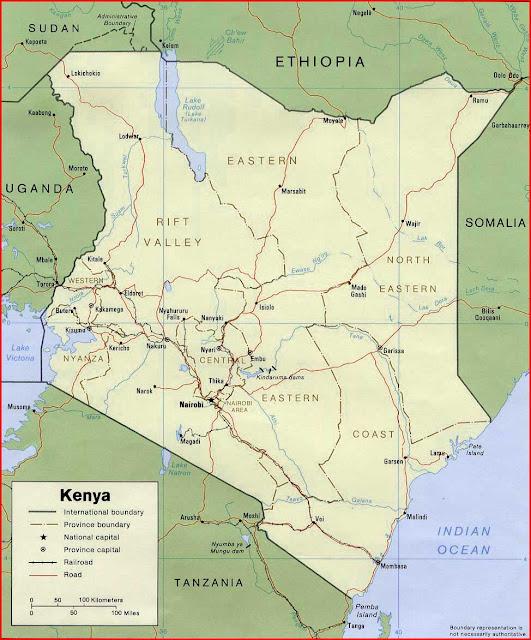 Gambar Peta politik Kenya