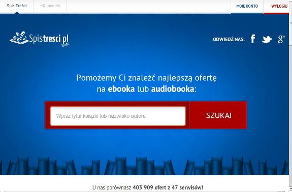 Strona głowna porównywarki cen e-booków Spistresci.pl