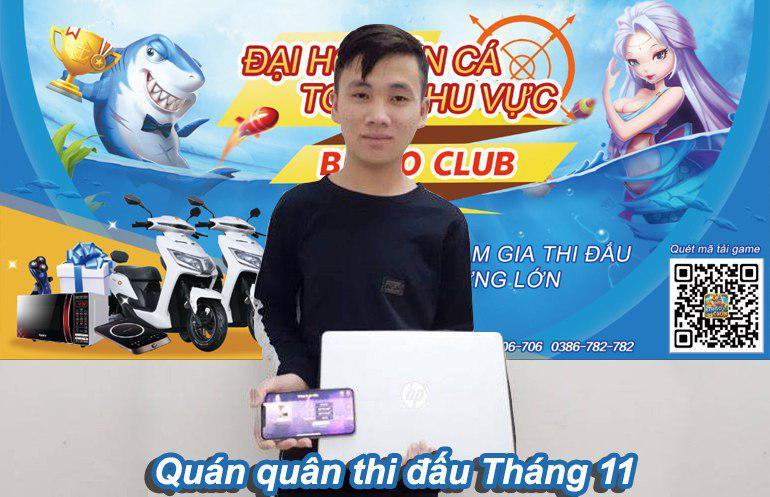 giải nhất thi đấu bắn cá Bingo Club tháng 11