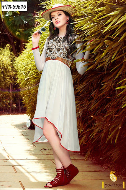 White Color Georgette Latest Anarkali Style Stylish Kurtis For Fashion Conscious Women In India