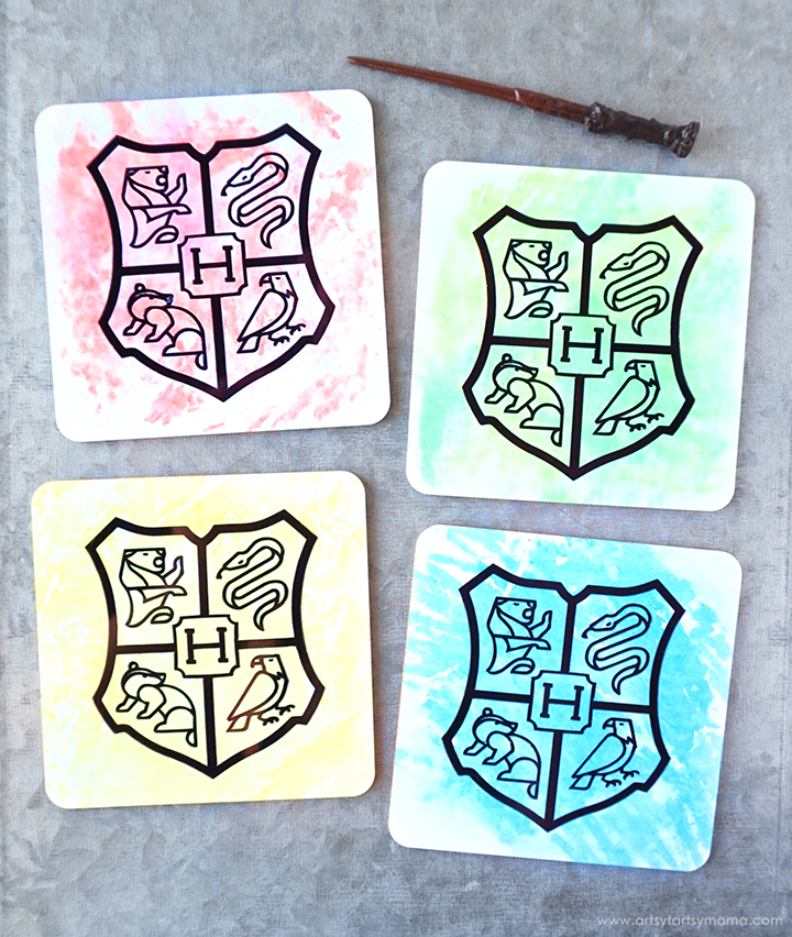 DIY Hogwarts House Coaster Set