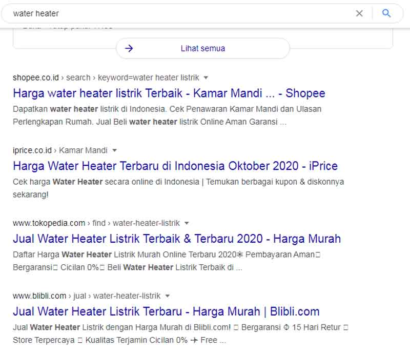 Penelusuran Water Heater