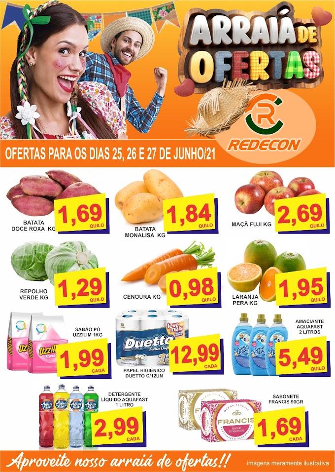 Confira o Arraiá de Ofertas da Redecon Supermercado para os dias 25, 26 e 27 de junho
