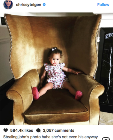 Chrissy Teigen makes a bad joke about the paternity of her daughter with John Legend, Luna.