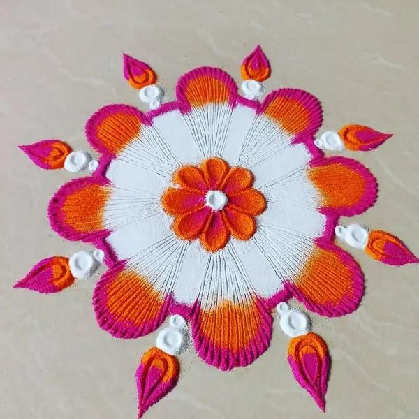 White_pink_flowers_rangoli_design