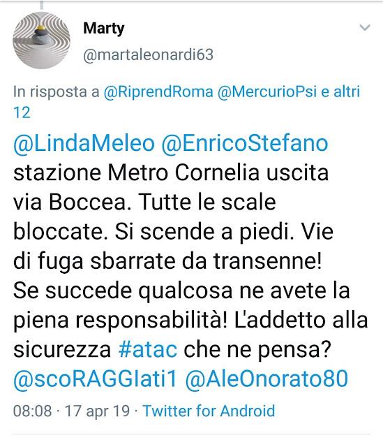 Situazione Trasporto Pubblico Roma mercoledì 17 aprile