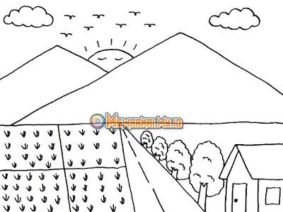 pemandangan gunung untuk mewarnai anak tk dan paud