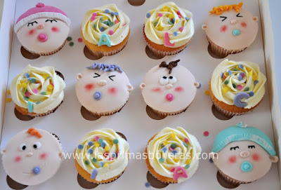 Cupcakes baby shower bebés