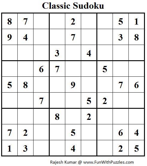 Classic Sudoku (Fun With Sudoku #91)
