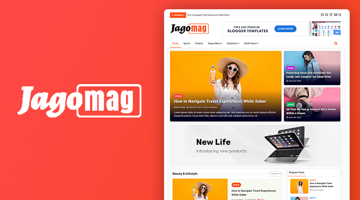 Jago Mag - Best Free Magazine Blogger Template Of 2020