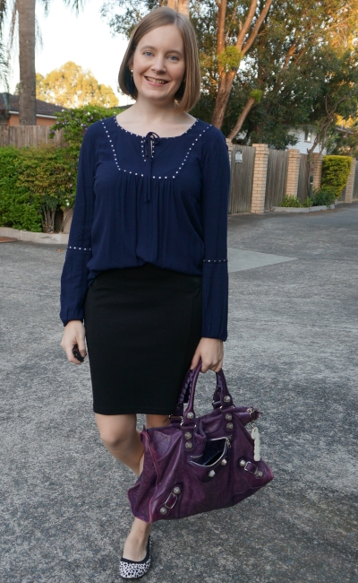 navy peasant studded blouse with back pencil skirt for office purple Balenciaga work bag | awayfromblue