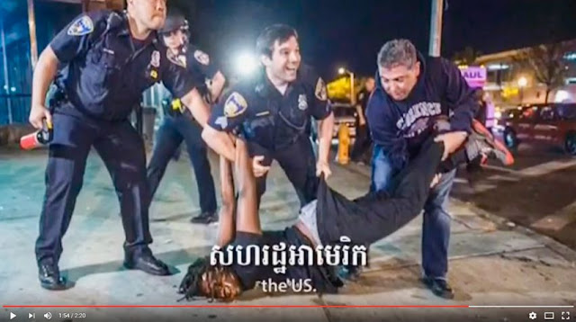 A screenshot from a Cambodian Human Rights Committee video released yesterday that features a photo of US police arresting a man during a 'Black Lives Matter' protest. Photo supplied