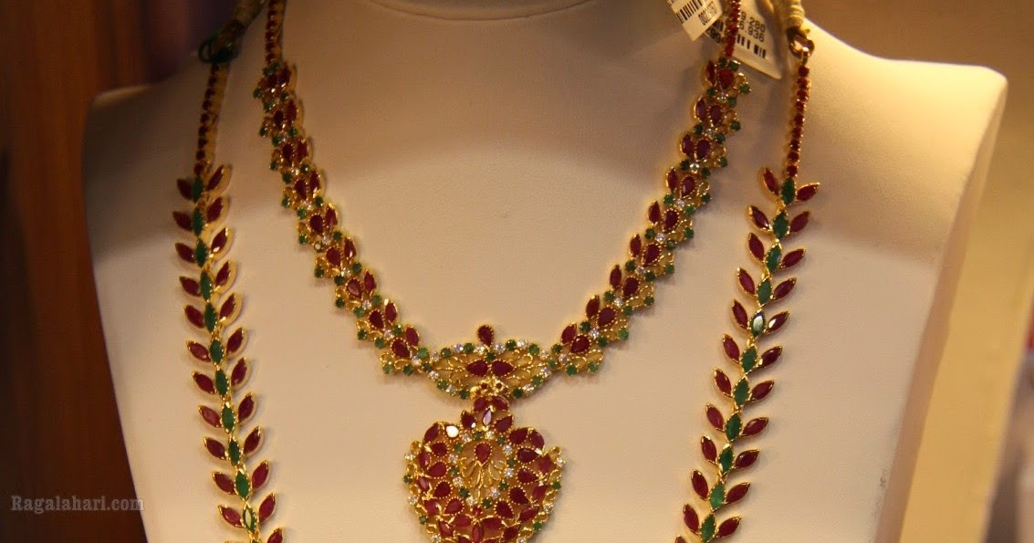 Ruby Emerald Necklace And Haram Set