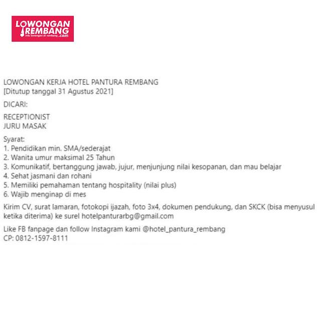 2 Lowongan Kerja Hotel Pantura Rembang