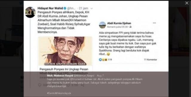 Hidayat Nur Wahid Ketahuan Sebar Hoax soal Pernyataan Mbah Moen tentang HR